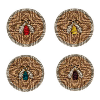 Set of 4 Coasters - Sparkle Bee