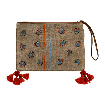Embroidered Beetle Pouch with Tassels
