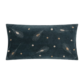 Embroidered Feather Cushion - Grey Velvet - 50x25cm