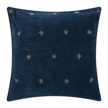 Embroidered Velvet Star Pillow - 50x50cm - Navy