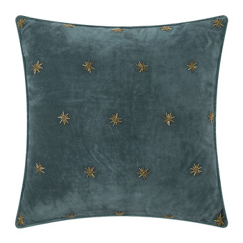 Embroidered Velvet Star Pillow - 50x50cm - Dark Grey