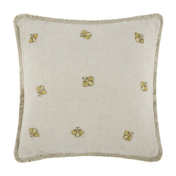 Embroidered Bee Pillow - Natural - 50x50cm