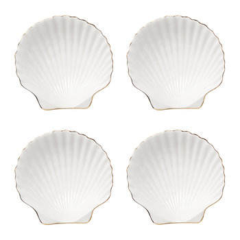 Shell Appetizer Plates - White - Set of 4