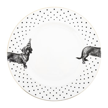 Monochrome Party Pup Dinner Plate