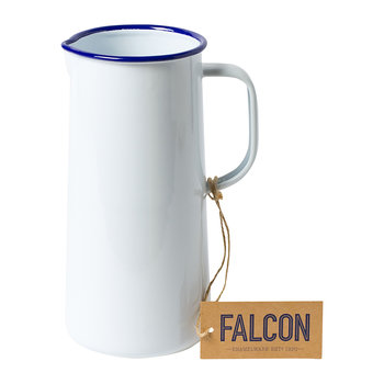 White Enamel Pitcher with Blue Rim - 3 Pints
