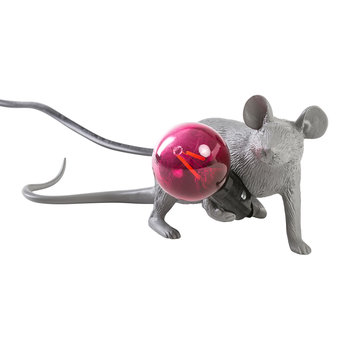 Grey Mouse Lamp - Laying Down