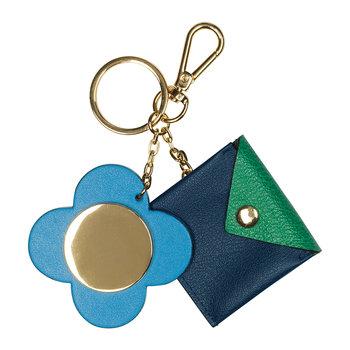 Giant Scallop Flower Purse Keyring - Leather - Marine