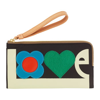 Love Print Nylon Flat Zip Wallet - Black