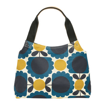 Laminated Scallop Flower Spot Shoulder Bag - Denim
