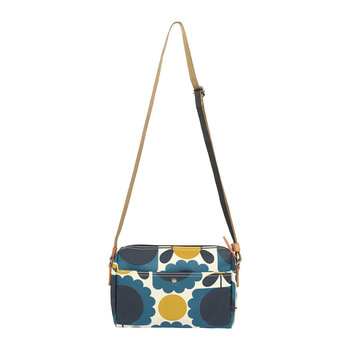 Laminated Scallop Flower Spot Cross Body Bag - Denim