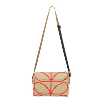 Laminated Giant Linear Stem Cross Body Bag - Stone