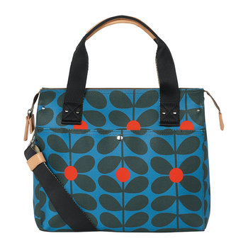 Sixties Stem Vinyl Zip Messenger Bag - Kingfisher
