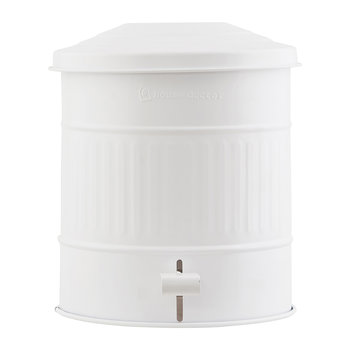 Metal Trash Can - 15L - Matt White
