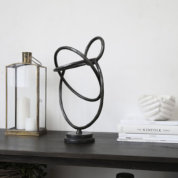 Circles Sculpture - Iron/Marble - Black