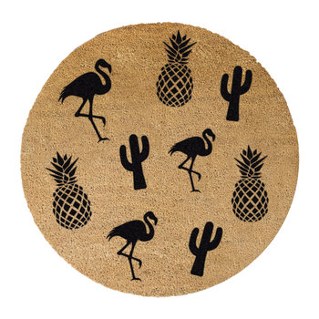 Pineapple, Flamingo & Cactus Door Mat - Round