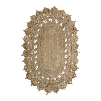 Patterned Oval Jute Rug - Natural - 182x121cm