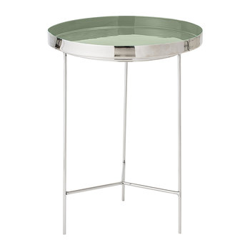 Round Aluminum Tray Table - Large - Silver/Green