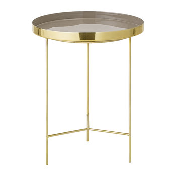 Round Aluminum Tray Table - Large - Gold/Brown