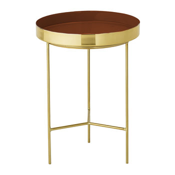 Round Aluminum Tray Table - Small - Brass/Red
