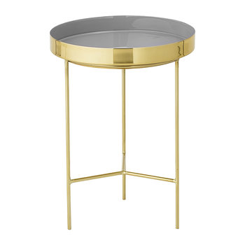 Round Aluminum Tray Table - Small - Brass/Grey