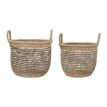 Woven Seagrass Baskets - Natural/Black - Set of 2