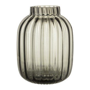 Ridged Clear Glass Vase - Grey