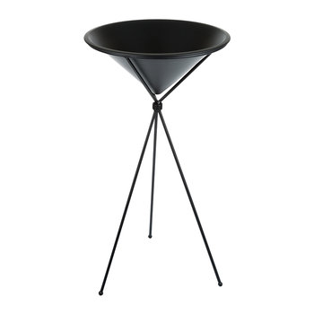Raised Metal Flowerpot - Cone - Black