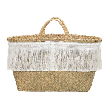 Seagrass Woven Basket With Fringe - White/Nature