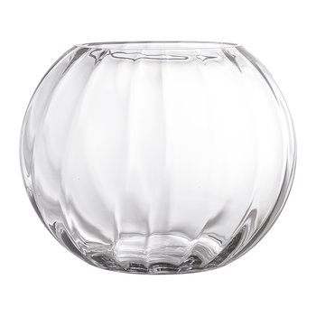 Round Ridged Glass Vase - Clear