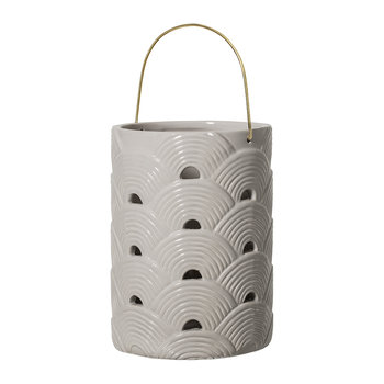 Round Ceramic Lantern - Grey - Arches