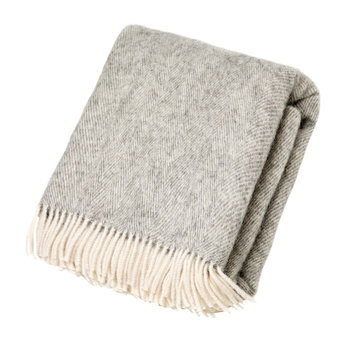 Natural Pure Wool Throw - Herringbone Grey