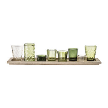 Assorted Green Glass Votives - Set of 9