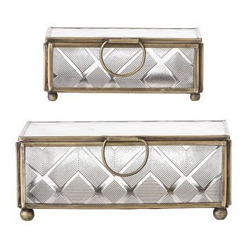Rectangular Trinket Boxes - Clear Glass/Gold - Set of 2