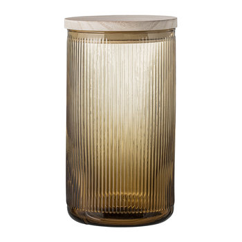 Ridged Glass Jar With Lid - Brown