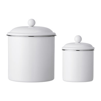 Lidded Metal Jars - Set of 2 - White
