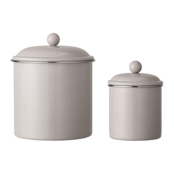 Lidded Metal Jars - Set of 2 - Brown