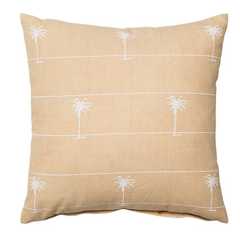 Palm Print Cotton Pillow - 45x45cm - Nature