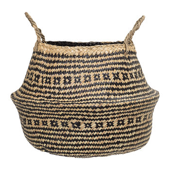 Seagrass Basket - Black/Nature - 40x30cm
