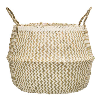 Seagrass Zigzag Basket - White/Nature