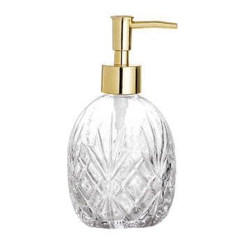 Textured Glass Soap Dispenser - Clear/Gold