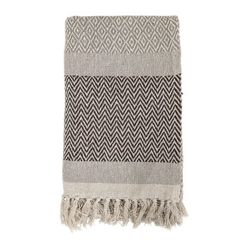 Tassel Edged Cotton Throw - Brown - 160x130cm