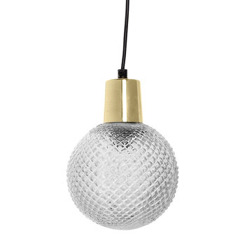 Round Textured Pendant Ceiling Light - Clear Glass/Gold
