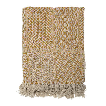 Tassel Edged Cotton Throw - Yellow - 160x130cm