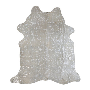 Metallic Acid Cowhide Rug - Grey/Silver