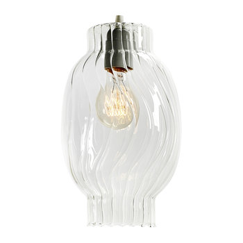 Textured Glass Ceiling Light - Clear - Long