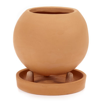 Round Standing Plant Pot & Saucer
