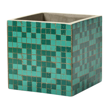 Marie Mosaic Green Square Plant Pot