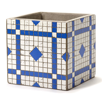 Marie Mosaic Blue/White Square Plant Pot - 17cm