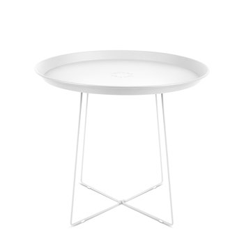 Plat-O Side Table with Removable Tray - White