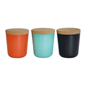 Claro Large Storage Jars - Set of 3 - Persimmon/Black/Lagoon